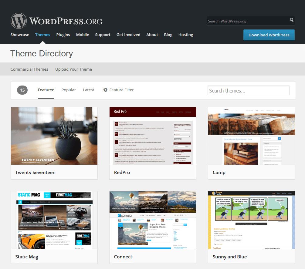 giao diện miễn phí của WordPress.org